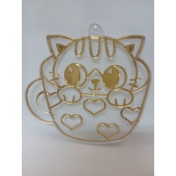 Plastová sklíčka k vybarvení - kočička v hrnku