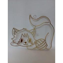 Plastová sklíčka k vybarvení, ležící  kočička