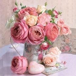 Ubrousek růže ve váze, 33x33 cm