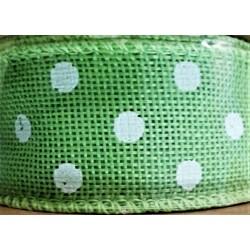 Stuha juta, světle zelená, bílý puntík, š. 4 cm