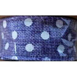 Stuha  juta, barva lila, bílý puntík, š. 4 cm