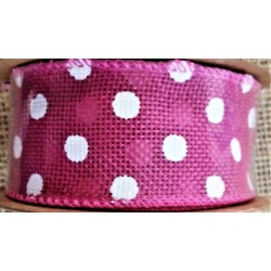 Stuha  juta, barva růžová, bílý puntík, š. 4 cm