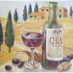 Ubrousek sklenka vína 33x33 cm