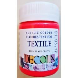 Barva na textil fluorescenční, Červená, Decola, 50 ml