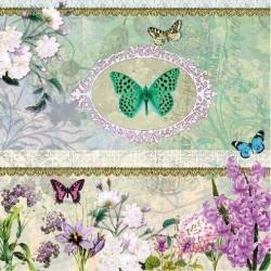 Ubrousek motýl s ornamentem a květinami 33x33 cm
