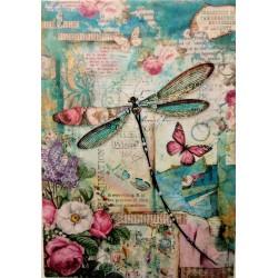 Rýžový papír, Vážka, motýl, A4, Stamperia