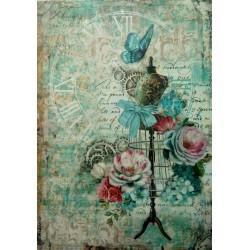 Rýžový papír, Hodiny, růže, figurina