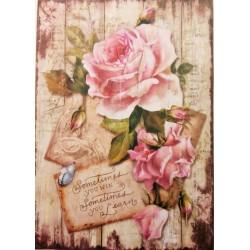 Rýžový papír, Romantické růže na dřevě, A4, Stamperia