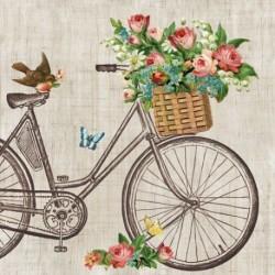 Ubrousek kolo s košíkem květin 33x33 cm