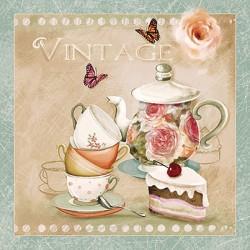 Ubrousek čajová konvička, hrníčky Vintage 33x33 cm