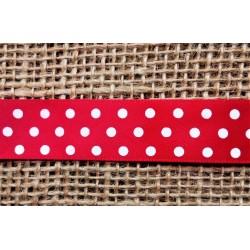 Stuha saténová červená s bílým puntíkem, š. 1,9cm
