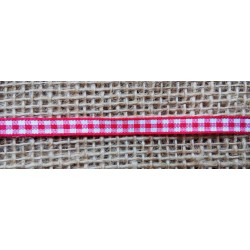 Stuha čeveno bílá kostička, š. 7mm, 20m