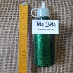 Glitrové lepidlo, tmavě zelené s glitry, 90 ml