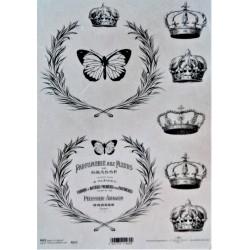 Rýžový papír, Královské koruny, motýl, nápisy, parfumerie, A4