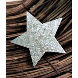 Hvězda, stříbrná dekorace na věnec, 4 cm