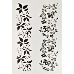 Šablona plastová, Květinový ornament, A4
