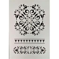 Šablona plastová, Mandala, ornamenty, okraje, A5