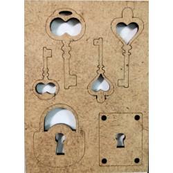 Výřezy, Klíče a zámky, sada  6 ks