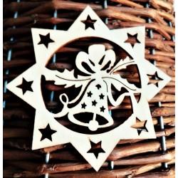 Výřezy z překližky, Vánoční hvězda a zvonek, 8 cm