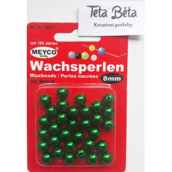 Plastové perle, 8 mm 32 ks, zelené
