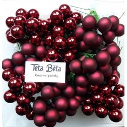 Skleněné vínové kuličky na drátku, matné, průměr 1,5 cm
