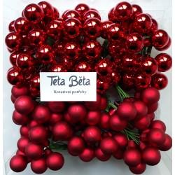 Skleněné červené kuličky na drátku, lesklé, průměr 1,5 cm