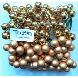 Skleněné zlaté kuličky, matné, na drátku, průměr 1,5 cm