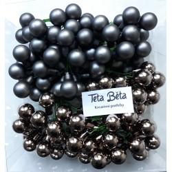 Skleněné šedostříbrné kuličky, lesklé, na drátku, průměr 1,5 cm