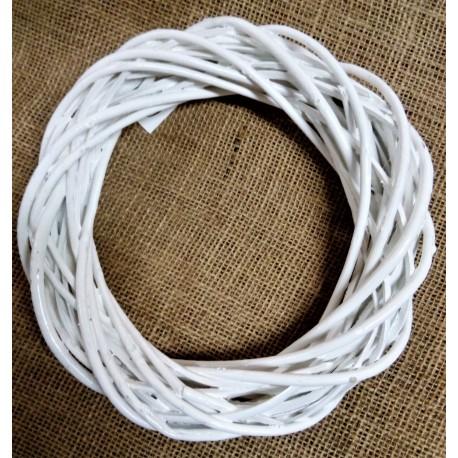 Věnec proutěný bílý, 26 cm, matný