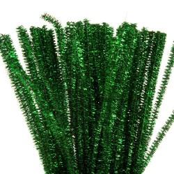 Chlupatý drátek zelený třpytivý, 30 cm