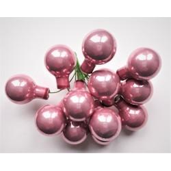 Skleněné starorůžové perleťové kuličky, na drátku, průměr 2 cm