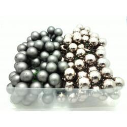 Skleněné šedé kuličky, lesklé, na drátku, průměr 2 cm