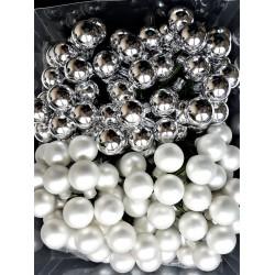 Skleněné kuličky, stříbrné, matné, na drátku, průměr 2 cm