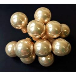 Skleněné kuličky světle zlaté, krémové, na drátku, průměr 1,5 cm