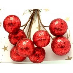 Kuličky červené se třpytivými glitry, na drátku, průměr 1,5 cm, svazek 8 ks