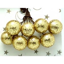 Kuličky, zlaté s glitry, na drátku, průměr 1,5 cm svazek 8 ks