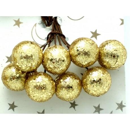Kuličky, zlaté s glitry, na drátku, průměr 1,5 cm