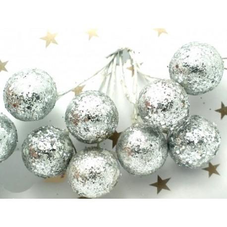 Kuličky stříbrné, na drátku, průměr 1,5 cm svazek 8 ks