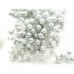 Kuličky stříbrné, na drátku, Průměr 0,8 cm