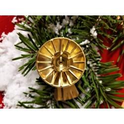 Retro svícínek, zlatý, na vánoční svíčky, na klipu, průměr 4 cm,