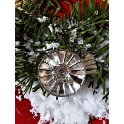 Retro svícínek, stříbrný, na vánoční svíčky, na klipu, průměr 4 cm