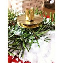 Retro svícínek zlatý, průměr 4,5 cm