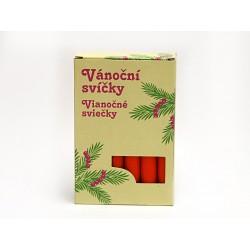Svíčky vánoční, červené, 12 ks v balení
