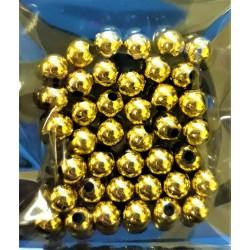 Korálky plastové, zlaté, 6 mm, 40 ks