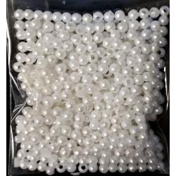 Korálky plastové, bílé perleťové, 3 mm, 6 g