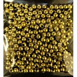 Korálky plastové, zlaté, 3 mm, 6 g