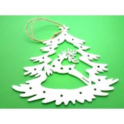 Výřez z překližky, Jelen ve vánočním stromečku, 15 x 15 cm