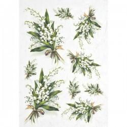 Rýžový papír konvalinky kytice A4