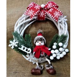 Věnec proutěný bílý, Vánoční dekorace, 25 cm