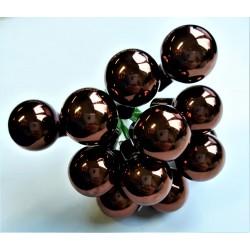 Skleněné kuličky tmavě hnědé, lesklé, na drátku, průměr 1,5 cm